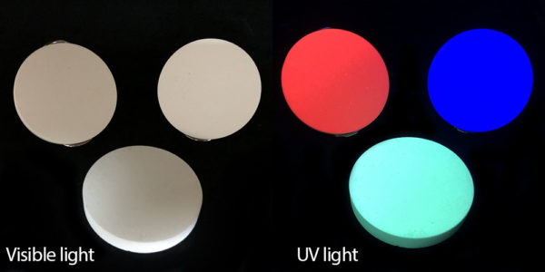 Photo of UV-activated chromatic fluorescent materials